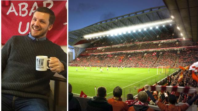 Imagen de Gareth Roberts y el estadio del Liverpool