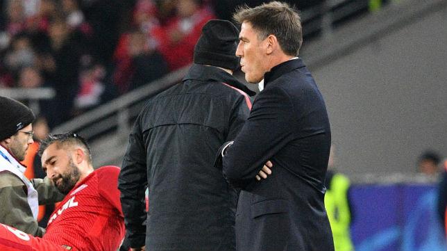 El entrenador del Sevilla FC, Eduardo Berizzo, durante el encuentro ante el Spartak (Foto: AFP)