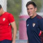 Berizzo, durante un entrenamiento del Sevilla FC