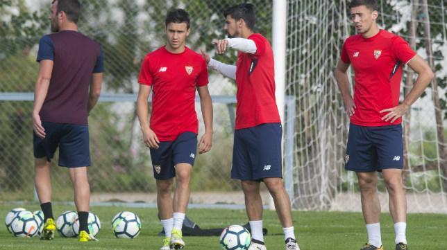 Corchia, en un entrenamiento con el Sevilla FC