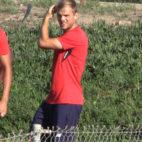 Geis, en un entrenamiento del Sevilla