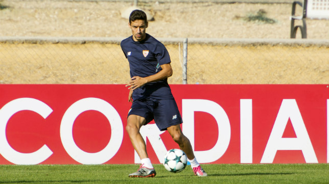 Navas, durante un entrenamiento con el Sevilla FC