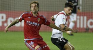 Lance del partido entre el Sevilla Atlético y el Real Zaragoza (Foto: J. Spínola)