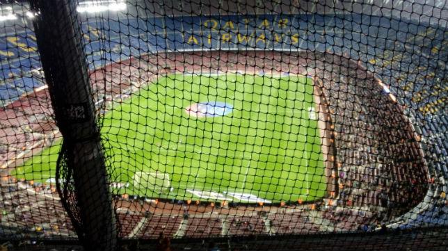 Panorámica del Camp Nou desde la zona habilitada para aficionados visitantes