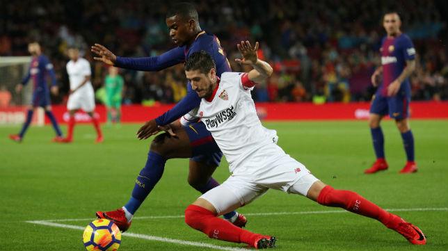 Escudero y Semedo, en el Barcelona-Sevilla (Reuters)