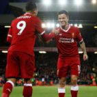 Firmino y Coutinho celebran uno de los goles del Liverpool al Southampton