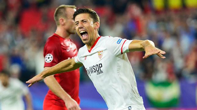 Lenglet celebra su gol en el Sevilla FC-Spartak