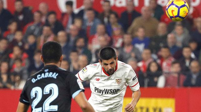 Nolito marca el 2-1 en el Sevilla FC- Celta (Foto: EFE).