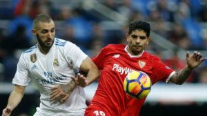 Benzema y Banega, en el Madrid-Sevilla