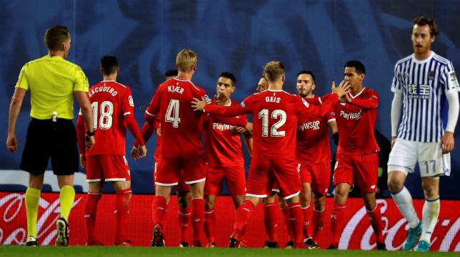 Ben Yedder, Escudero, Kjaer, Geis, Sarabia, Ganso, en el Real Sociedad-Sevilla (AFP)