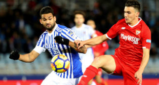 Corchia, en el Real Sociedad-Sevilla (EFE)