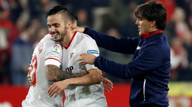 Montella felicita a Sarabia tras el Sevilla-Atlético de Madrid