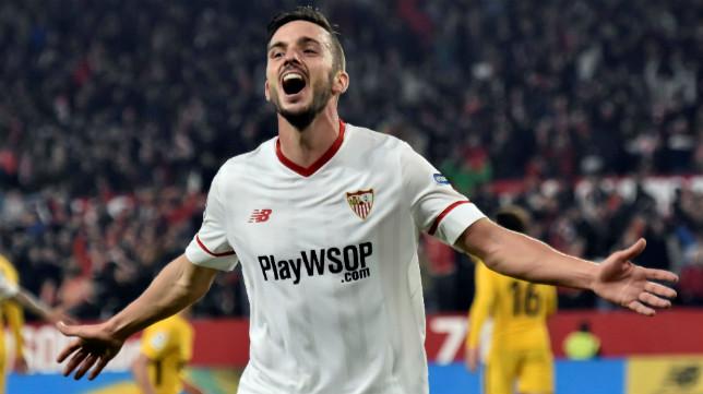 Sarabia celebra el 3-1 en el Sevilla-Atlético