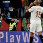 Tello celebra el 3-5 en el derbi Sevilla-Betis