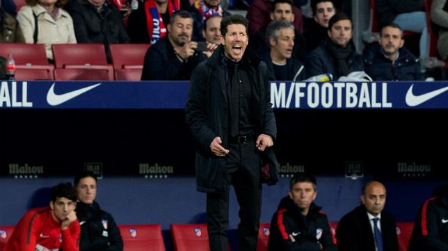 Simeone, durante el Atlético-Sevilla