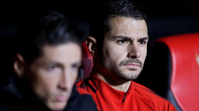 Vitolo y Torres, en el Sánchez-Pizjuán por el Sevilla-Atlético (Reuters)