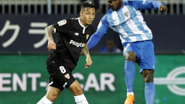 Arana en su debut en el Málaga-Sevilla FC