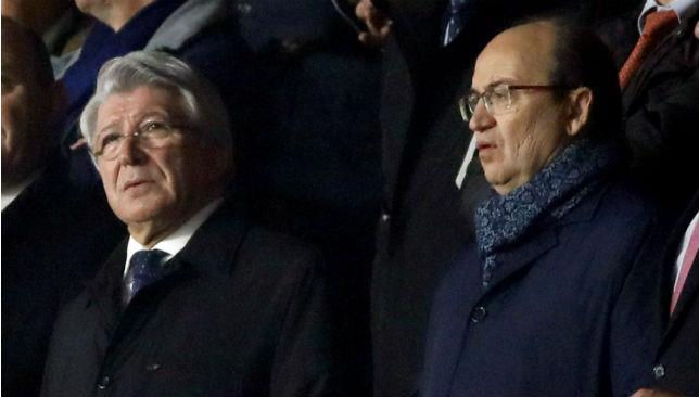 Enrique Cerezo, presidente del Atlético de Madrid, junto a José Castro (EFE)