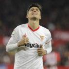 Correa se lamenta en un lance del Sevilla-Atlético