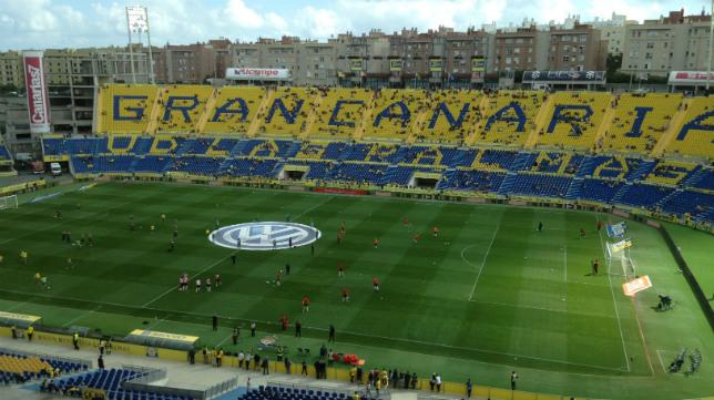 Estadio de Gran Canaria, en el calentamiento del Las Palmas-Sevilla