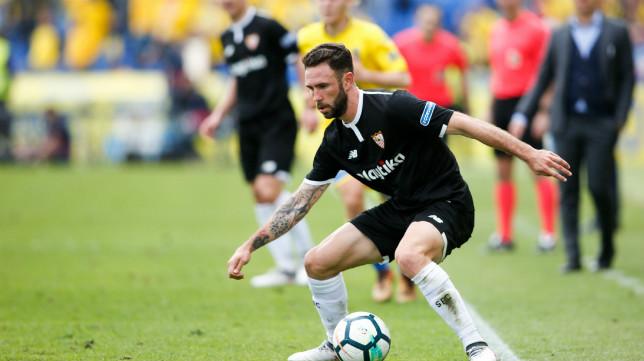 Layún, en una acción del Las Palmas-Sevilla FC