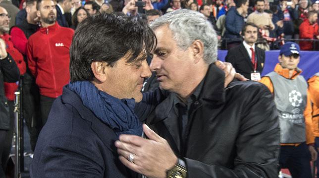 Montella y Mourinho se saludan (Foto: Juan José Úbeda).