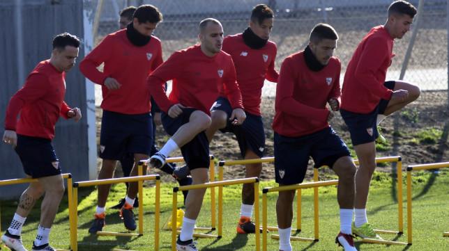 Sandro, en un entrenamiento con el Sevilla FC. Foto: SFC