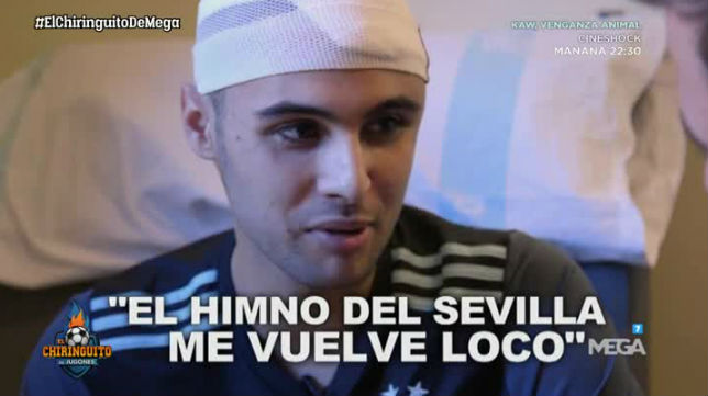 Francesc Peralta, jugador del Mequinenza CD, habla del himno del Sevilla (El Chiringuito)