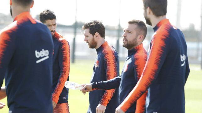 Luis Suárez, Leo Messi y Jordi Alba (FCB)