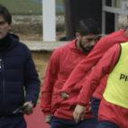 Montella, junto a Banega, Muriel y Nolito, durante una de las sesiones preparatorias del choque ante el Valencia (Foto: Juan Flores)