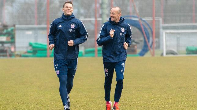 Neuer, entrenándose en la ciudad deportiva del conjunto bávaro. Foto: FC Bayern