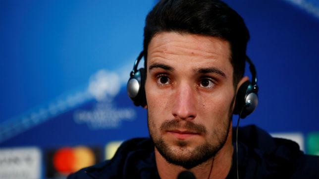 Sergio Rico, durante la rueda de prensa previa al Manchester United-Sevilla FC de vuelta de la Champions League (REUTERS)
