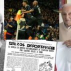 Valero, pasado y presente, con la crónica del Sevilla en el año 1958 y con la imagen de los jugadores celebrando el pasado martes la clasificación a los cuartos