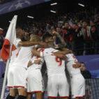 Celebración del gol, en el Sevilla-Bayern Múnich (Juan Manuel Serrano)