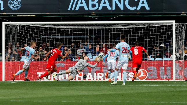 Jugada en la que Aspas hacía el 1-0 en el Celta-Sevilla