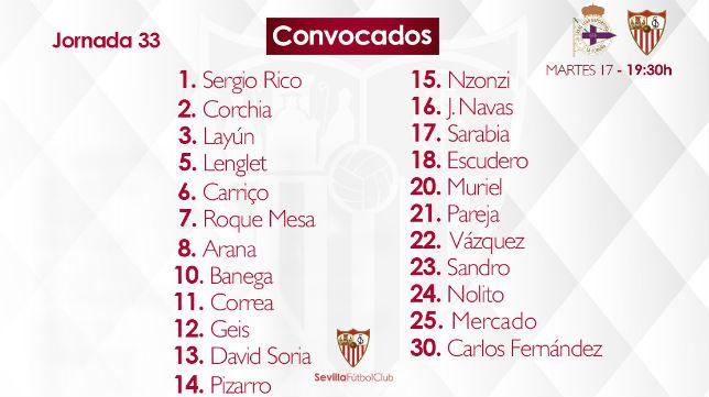 Lista de 23 convocados del Sevilla para visitar al Deportivo de La Coruña (SFC)