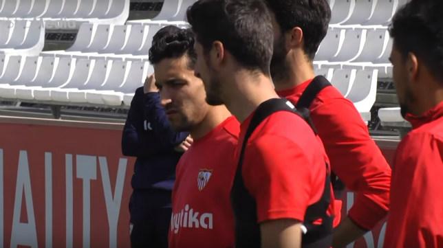 Imagen del entrenamiento de este domingo del Sevilla FC