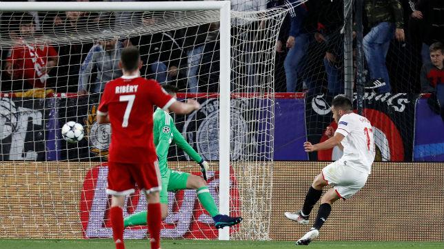 Sarabia, en el Sevilla-Bayern Múnich (Reuters)