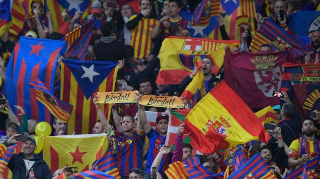 Zona de aficionados del Barcelona en la final de la Copa del Rey disputada en el Wanda Metropolitano (Foto: AFP)