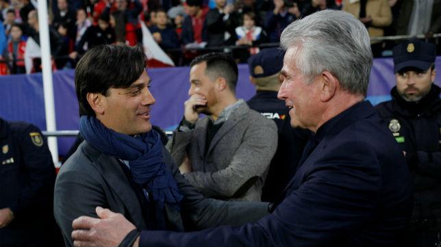 Montella y Jupp Heynckes, en el Sevilla-Bayern Múnich (Reuters)
