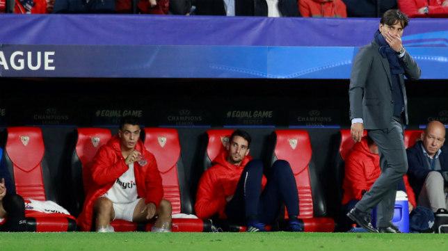 Montella, en la banda del Sánchez-Pizjuán durante el partido ante el Bayern