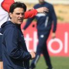 Vincenzo Montella, en un entrenamiento con el Sevilla FC (Juan José Úbeda)