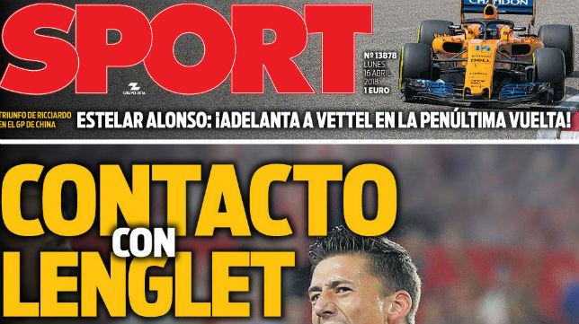 Portada de hoy del diario Sport
