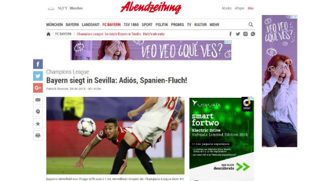 Portada digital del Abendzeitung de Múnich, sobre el Sevilla-Bayern