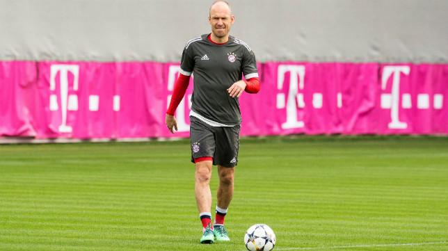 Robben, en el entrenamiento del Bayern
