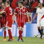 Thiago, Ribery y Kimmich celebran el 1-1 (Foto: EFE).