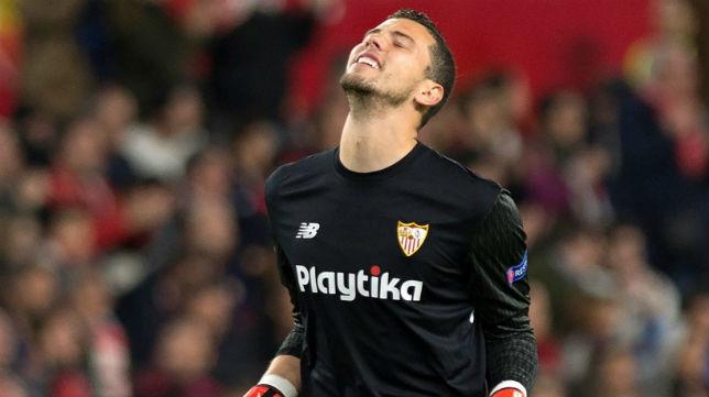 Soria, en el Sevilla-Bayern Múnich (AFP)