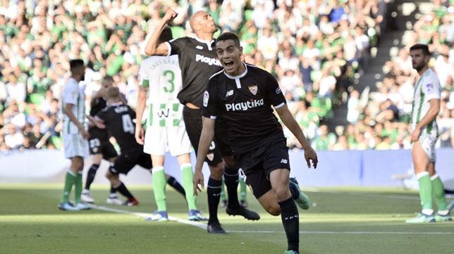 Ben Yedder celebra su gol en el derbi ante el Betis (foto: EFE)