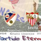 Cartel del amistoso entre Linares y Sevilla FC