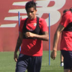 Guilherme Arana, en el entrenamiento de este martes en la ciudad deportiva